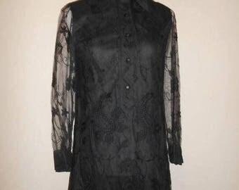 Closing Shop 40%off SALE 60s 70s black lace dress Joseph Magnin