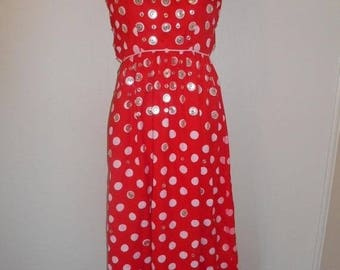 Closing Shop 40%off SALE Vintage 60's 70's   red white   button polka dot  long dress