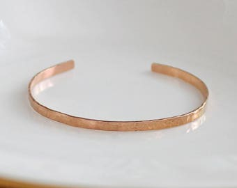 Rose Gold Cuff Bracelet, Hand Hammered Cuff Bracelet, Christmas Gift for Her, Handmade Bracelet in Rose Gold, Rose Gold Fill Bracelet