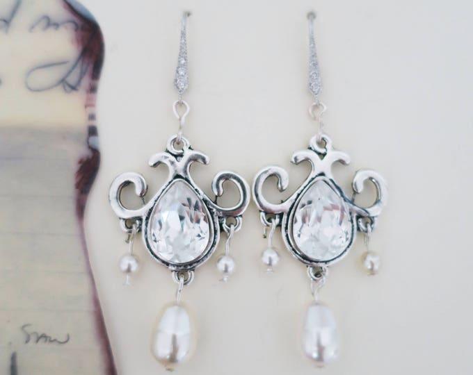 Swarovski Crystal Pearl Earrings with Sterling Ear Wires