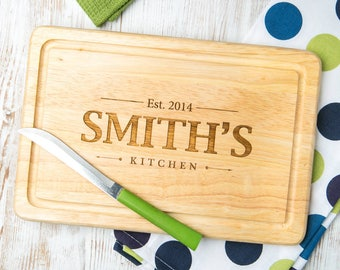 Personalized Cutting Board Engraved with Family Name and Date