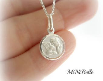 Sterling Silver Angel Necklace. Guardian Angel. Cherub. Baptism. Christening Necklace