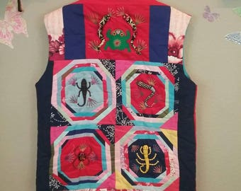 Vintage 70s 80s Quilted 3D craft vest - novelty - animals creatures