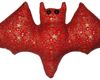 Red and Gold Star Bat Pillow
