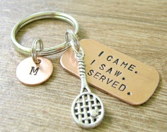 Tennis Racquet Keychain, I Came, I Saw, I Served, Tennis Racket Keychain, tennis team, tennis player gift, tennis coach gift