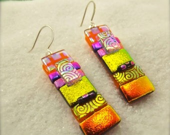 Fused glass earrings, rainbow dichroic earrings, trending dichroic jewelry, Hana Sakura Designs, dichroic beads, artistic earrings, dichroic