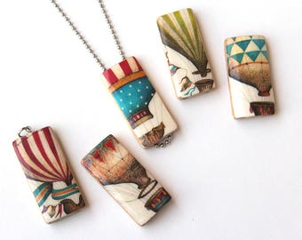 Hot Air Balloon Pendant Necklace - You Choose Your Favorite  - Red Blue and Green Stripes and Pennants on Vintage Hot Air Balloons