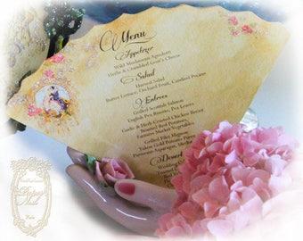 Wedding Menu Pierrot Au Claire de la Lune Die Cut Fan Shaped Menus or Invitations SET OF 6