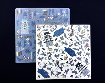 Japanese  Paper - Chiyogami Paper - Origami Paper - 2 Patterns 30 Sheets 15 x 15 cm Lots of Samurai and Ninja
