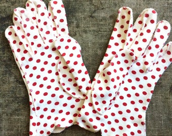1950s Red and a white Polka Dot Gloves