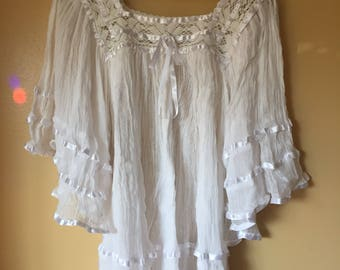 Vtg Angel Wing Cotton Gauze Ribbon Top or Mini Dress