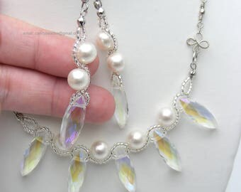 White pearl necklace;Beaded necklace; Swarovski necklace;Crystal necklace;Swarovski beads; glass beads