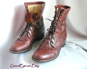 Fab Distressed Leather Kiltie Ankle Boots / size 10 Eu 42 UK 7 .5 / Brown JUSTIN Oxfords Granny Lace Up Biker High Tops / Mens sz 9 -B