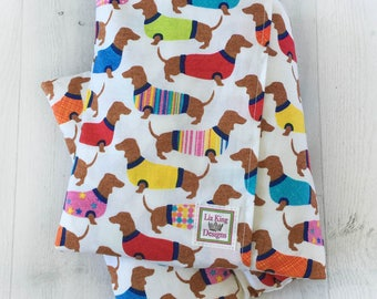 Large Heating Pad, Microwavable, Dogs in Sweaters, Hot Cold pack, Removable Cover, Heat therapy, Aromatherapy. Back pain relief, dachshunds