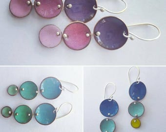 Graduated Drops enamel earrings in summer colors