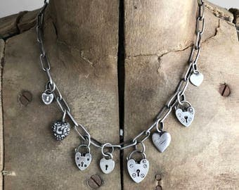 Reserved for Dorothy....Charm Necklace Vintage Antique Sterling Silver Hearts Love Padlock Lock Puffy Heart Valentine Handmade Oblong Cable