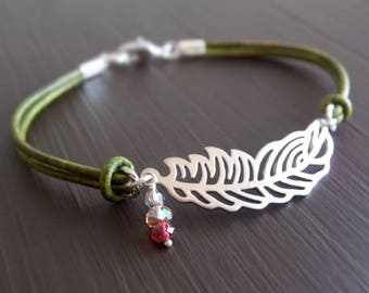 Boho Feather Jewel Jewelry Bracelet - Silver Feather Charm - Green Leather - Faceted Beads - Gift for Her - Stacking Bracelet - Girlfriend
