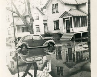 vintage photo 1946 ABSTRACT Reflection Car House Tree Unusual Flood Waters