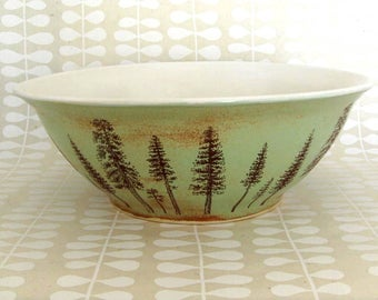 Large Pottery  Bowl - 6 cups - Ceramic Bowl - Mixing Bowl - Pine Trees - Ready to Ship - Hand Thrown Stoneware Pottery