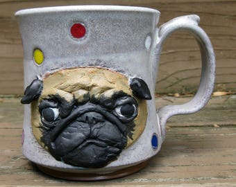 Pug Mug- Blond on Two Toned White with Polka Dots