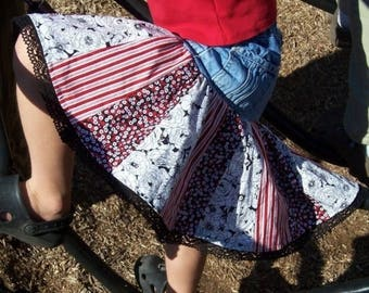 SALE PDF Sewing Pattern - Upcycled Stripe or Patchwork Twirl Skirt - all sizes - Instant Download