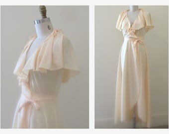 Maxi Boho Dress  70s Maxi Cape Dress Blush Pink Maxi Wrap Dress w  Waist Tie  Tulip Hem  Butterfly Sleeves Sz S small