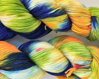 "Wool Cashmere blend sock yarn, colorway ""Iris Garden"" in stock, ready to ship!"