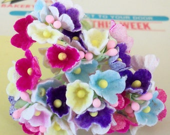 Artificial Flowers / Forget Me Nots / One Nosegay / Mixed Colors / Flocked Paper