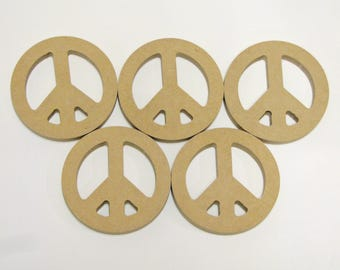 """MDF (5) Peace Love Sign Wood Bases Shapes 4"""" in Diameter Mosaic Tile Paint Beads"""