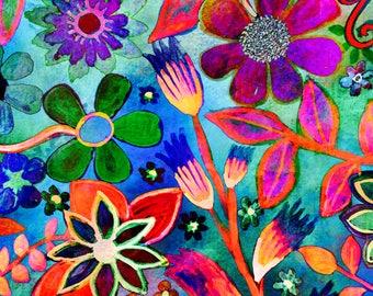 Deborahs Garden  flowers art print archival print trees art print  art print garden painting tree art print flowers art print