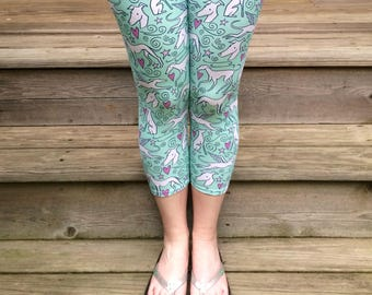 Greyhound Leggings - Hound Parade - Whippet - Galgo - Italian Greyhound - Dog Lover - Dog Apparel - Greyhound - CAPRI LENGTH - Aqua