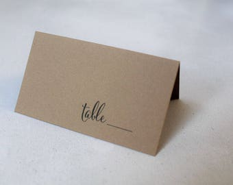 Tented Escort Cards - Wedding Place Cards - Folded Seating Cards - Wedding Reception Name Cards - Modern Table Cards -E001