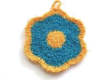 Flower Dish Scrubby, Dish Scrubbies, Yellow/Aqua Crochet Scrubbies, Pot Scrubber, Eco Friendly Kitchen Scrubby