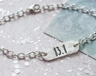 Half Marathon ID Bracelet - Running Jewellery, Bracelet for Runner, Running Gift, Gift for Runner, Identity Bracelet, Running Jewellery
