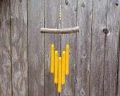 Sunflower Yellow Wind Chime, Yellow Windchime, Yellow Glass Wind Chime, Glass Chimes, Oregon Driftwood