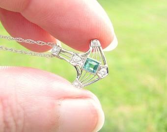 Art Deco Emerald Diamond Pendant Necklace, Fiery Old European Cut Diamonds, Bright Green Emerald, Elegant, 18K & 14K White Gold