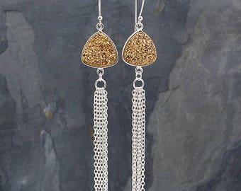druzy earrings, tassel earrings, gold druzy earrings, sterling silver earrings, druzy jewelry, gold druzy jewelry, tassel jewelry, triangle