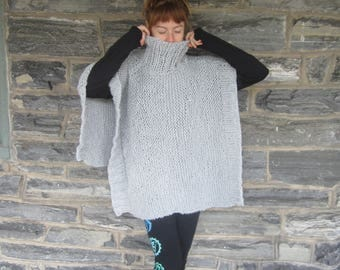 Knit poncho,  womens poncho, Poncho, cowl neck poncho, gift for women, holiday gift for her, READY TO SHIP, New!!