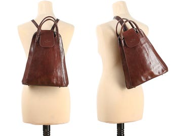 Leather Backpack 90s Rust Brown Structured Pack Bag Vintage Luxury Rucksack Tranformable to Unistrap Crossbody Knapsack Italy Medium size