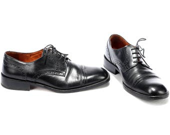 Men US 9 Vintage Brogues For Men Black Dress Shoes 1990s Oxfords Leather Vintage Lace Up Perforated Wedding Oxford Shoes Eur 42.5 Uk 8.5