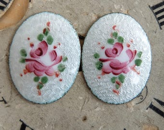 2 Vintage Guilloche Enamel Rose Cabochon Small