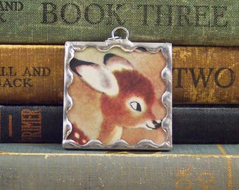 Fawn Pendant - Soldered Glass Charm - Oh Deer Jewelry Charm - Vintage Book Page Jewelry - Brown Deer Fawn Woodland Animal