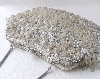 Super Sparkly Silver Beaded Fringe Purse Vintage Sequin Clutch Formal Evening Bag Cocktail Party Handbag Wedding Bridal Hand Made Hong Kong