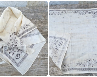 Vintage Antique 1890/ 1900s french  countryside  soft cotton cream/gray & black floral  scarf
