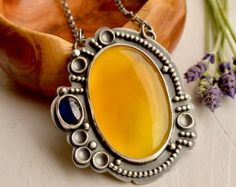 Yellow Chalcedony Necklace, Mango Chalcedony Pendant, Blue Sapphire, Detailed Metalwork, Statement Necklace, Handmade Artisan Jewelry