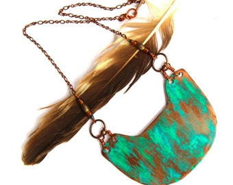 Copper Geometric Necklace with Patina (P2037)