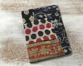 COMPOSITION Notebook Book Cover - quilted fabric collage - Kantha fabric collage