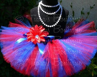 "SUMMER SALE 20% OFF Girls Birthday Tutu - Courageous - Red Blue Tutu - Custom Sewn 8"" Tutu - sizes newborn up to 5T"