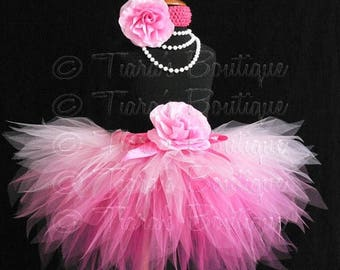 SUMMER SALE 20% OFF Pink Birthday Tutu, Halloween Fairy Tutu, Pinkalicious, Sewn 3 Tiered Pink Ombre Pixie Tutu, Photo Prop Tutu for Babies