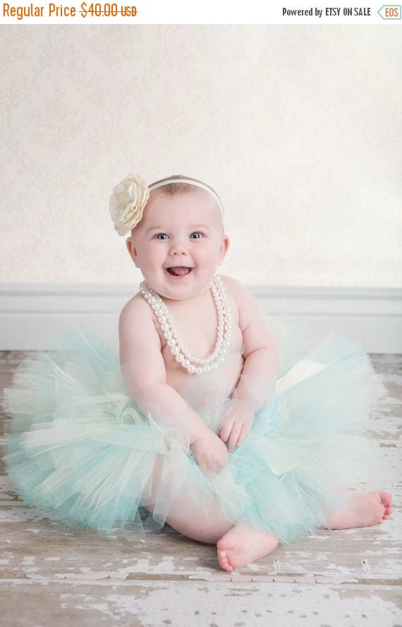 SUMMER SALE 20% OFF Cool Elegance - Custom Sewn Tutu Made in Aqua Blue and Ivory - up to 12'' long - sizes Newborn to 5T